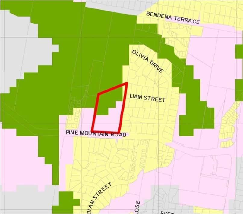 This image shows High Value Koala Habitat shaded green and the Pine Mountain Road development boundary outlined in red.
