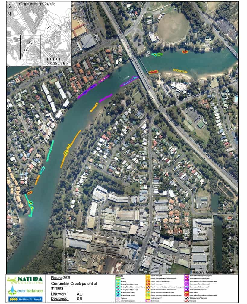 A map extracted from the final report detailing potential threats to seagrass patches in Currumbin Creek